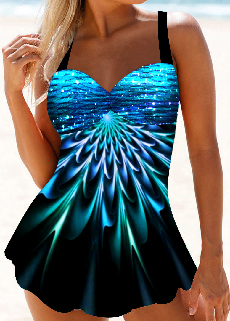 Open Back Printed Keyhole Neck Swimdress and Panty