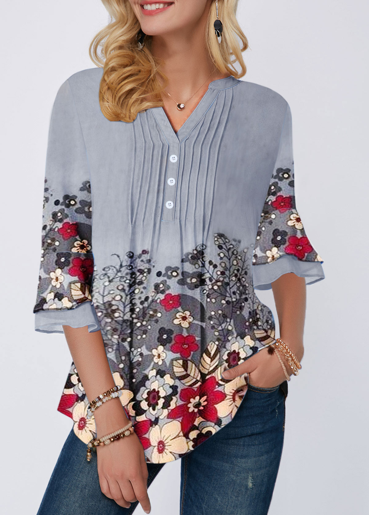 Flower Print Button Front Crinkle Chest Blouse