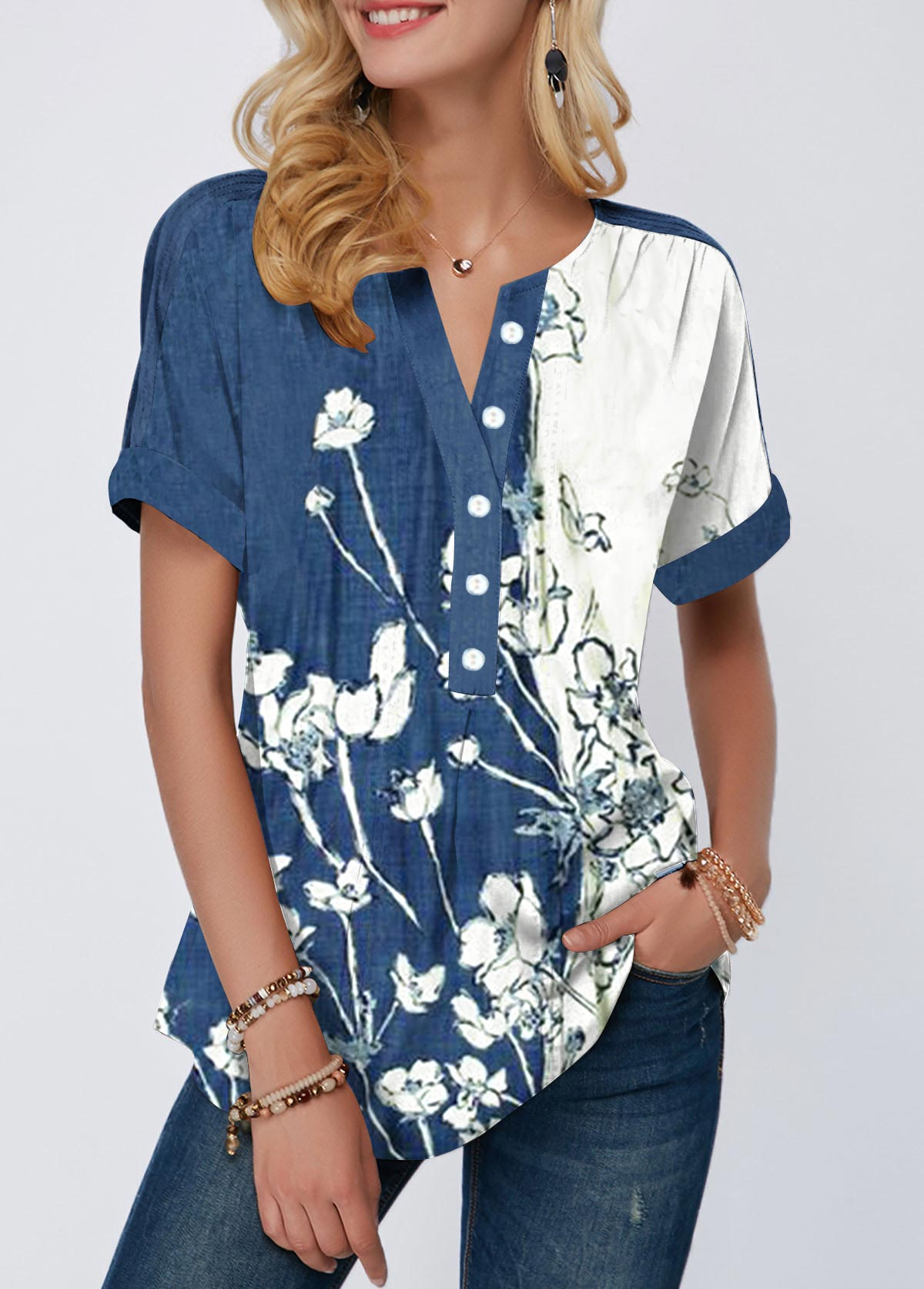 Split Neck Button Detail Floral Print Blouse