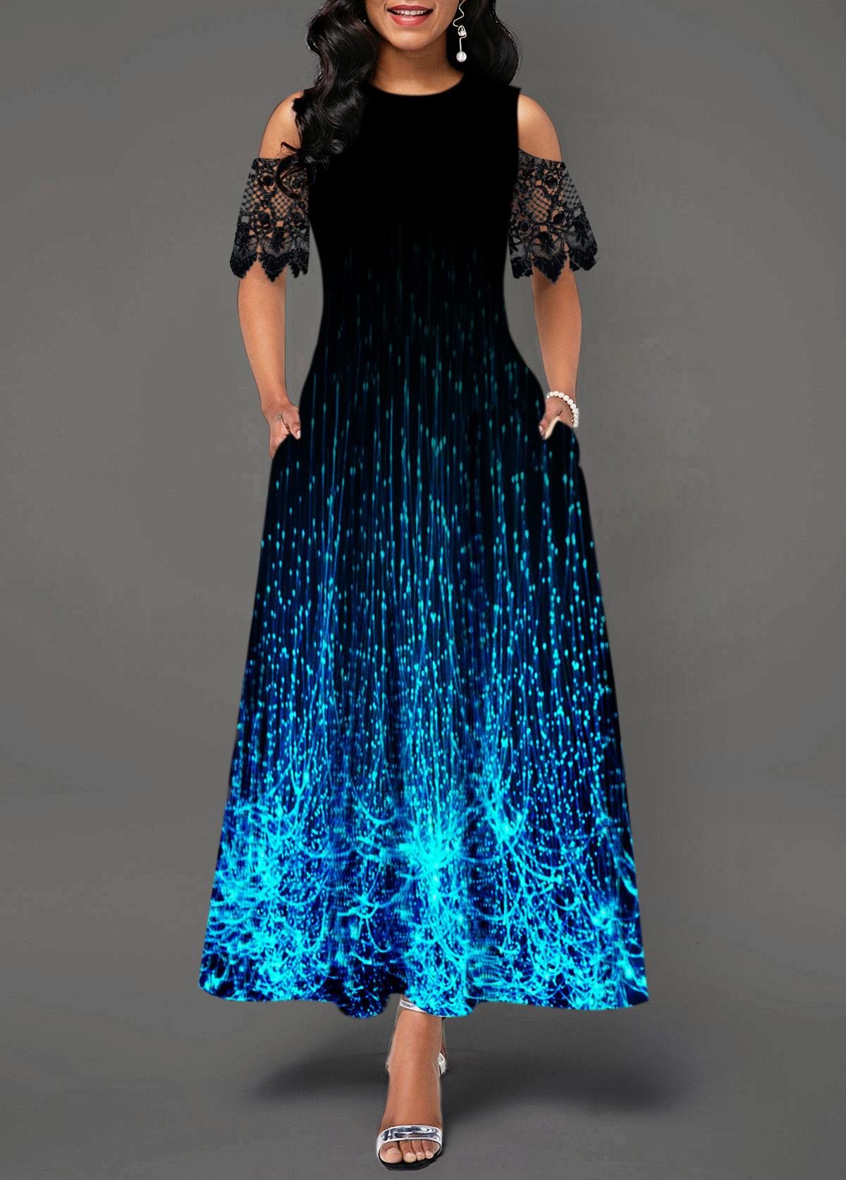 Cold Shoulder Lace Panel Printed Maxi Dress
