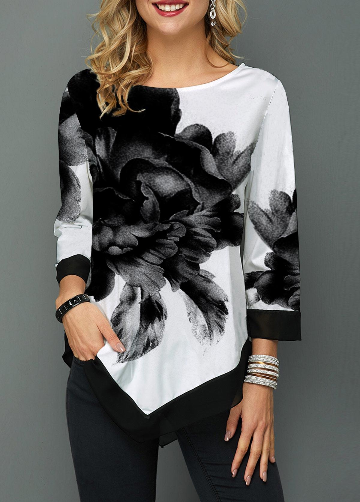 Asymmetric Hem Flower Print Chiffon Patchwork Blouse