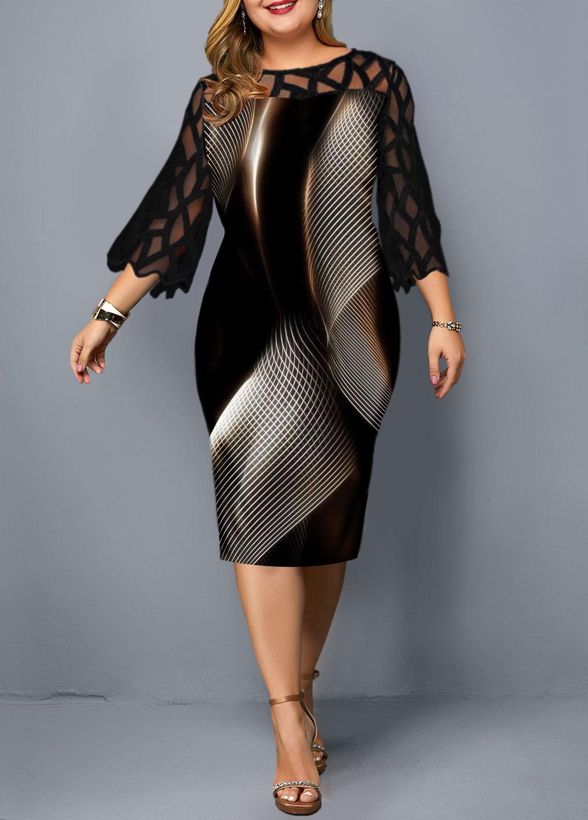 Plus Size Geometric Print Lace Panel Sheath Dress