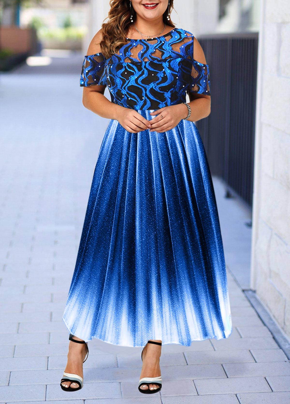 Lace Panel Cold Shoulder Plus Size High Waist Dress