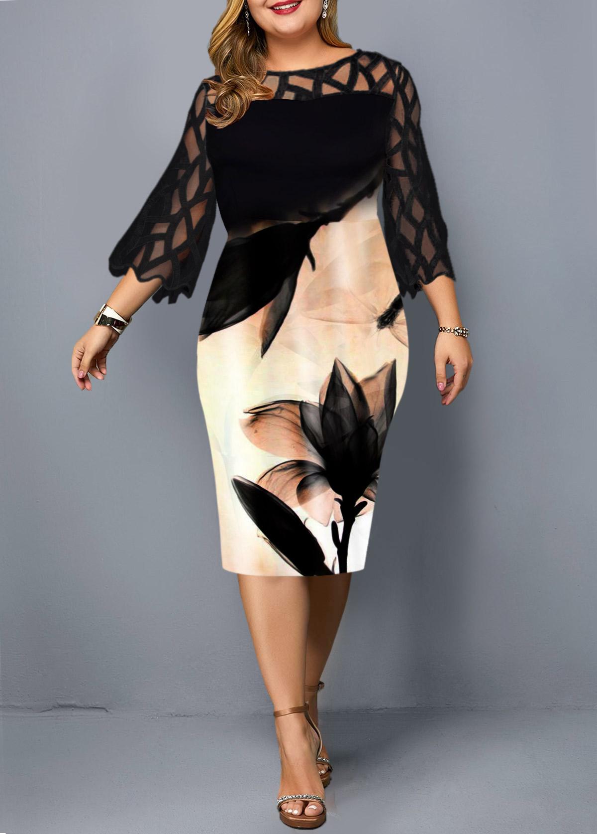 Plus Size Mesh Patchwork Printed Black Dress