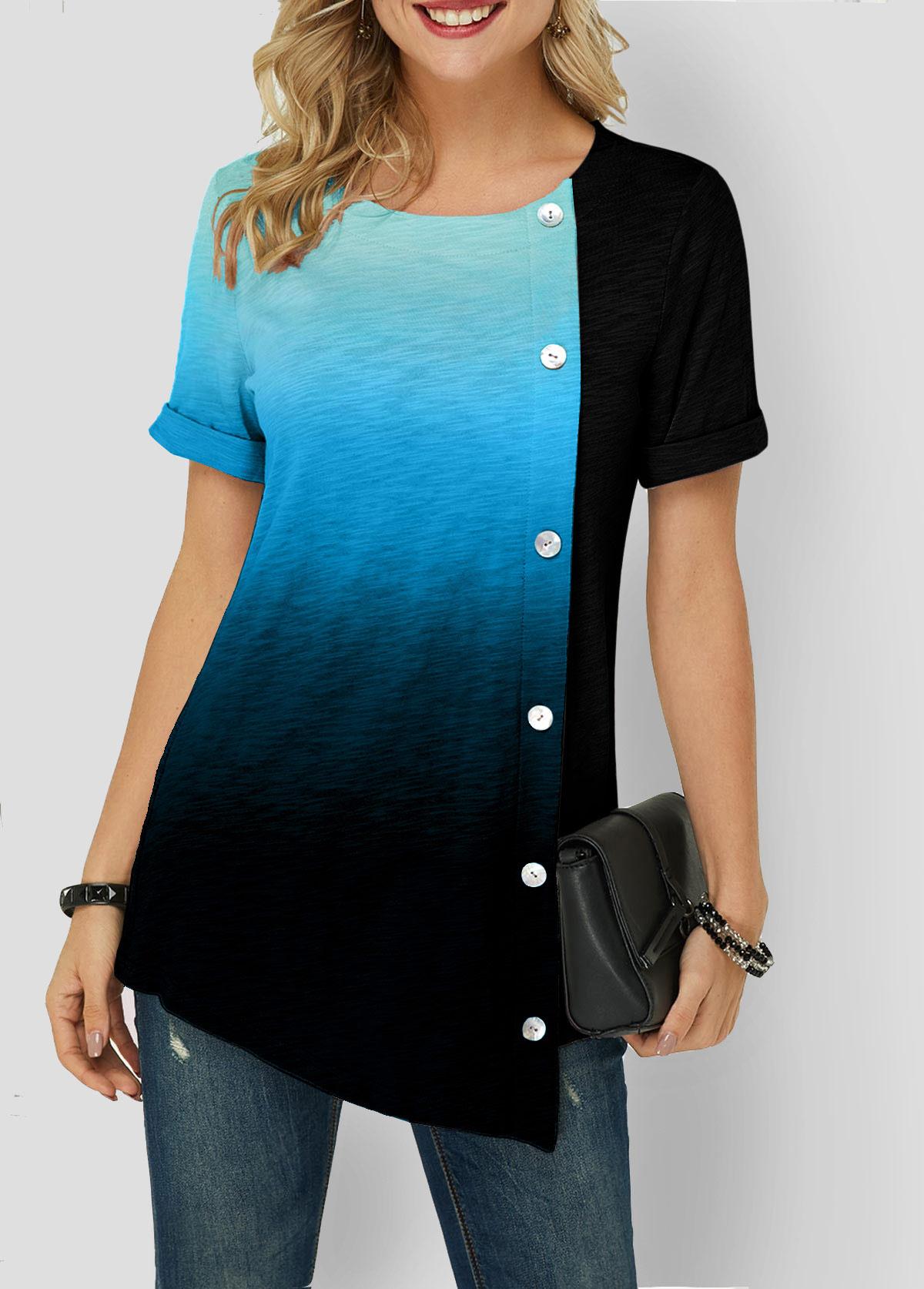 Blue Gradient Asymmetric Hem Button Detail T Shirt