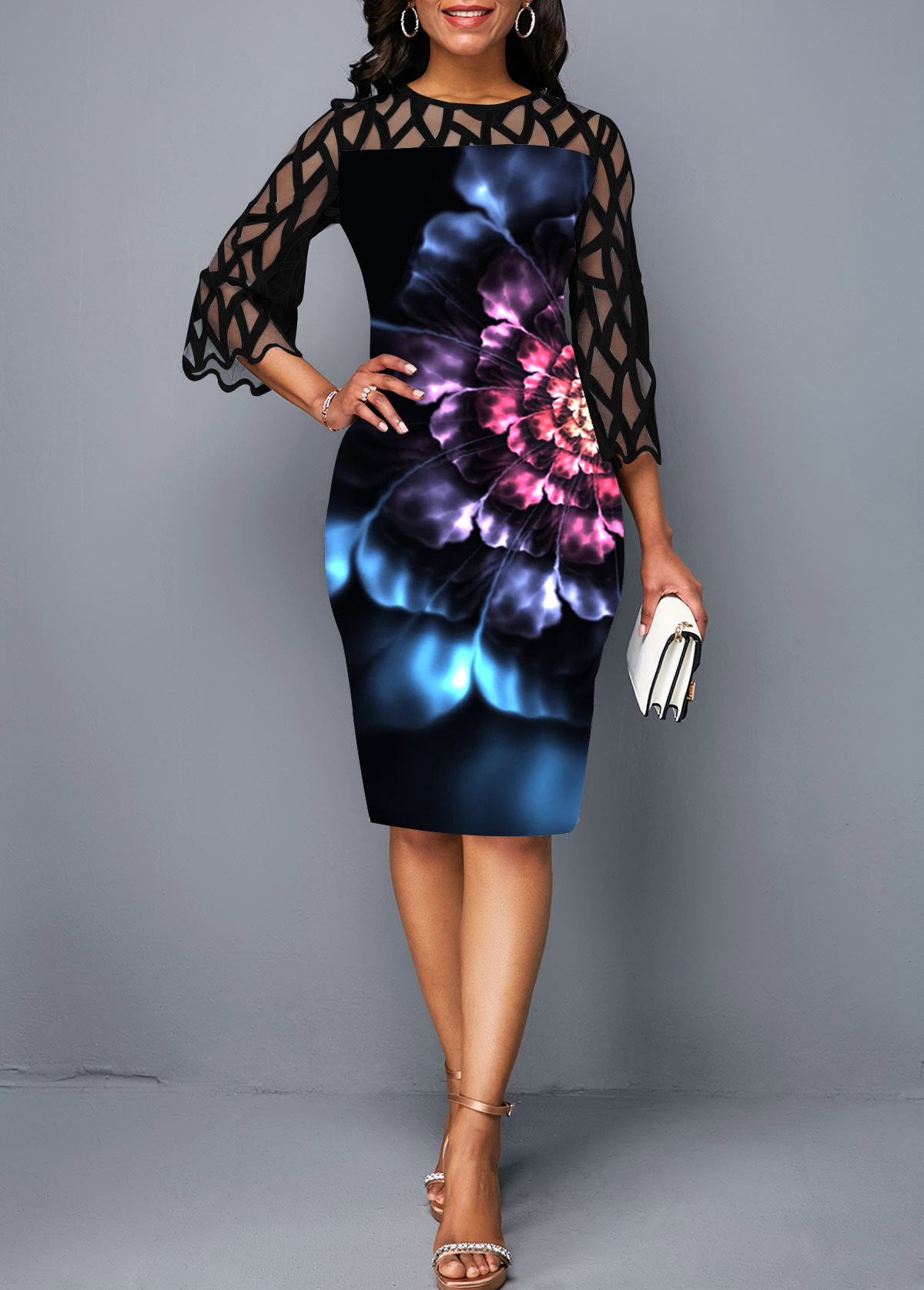 Lace Panel Flower Print Round Neck Sheath Dress