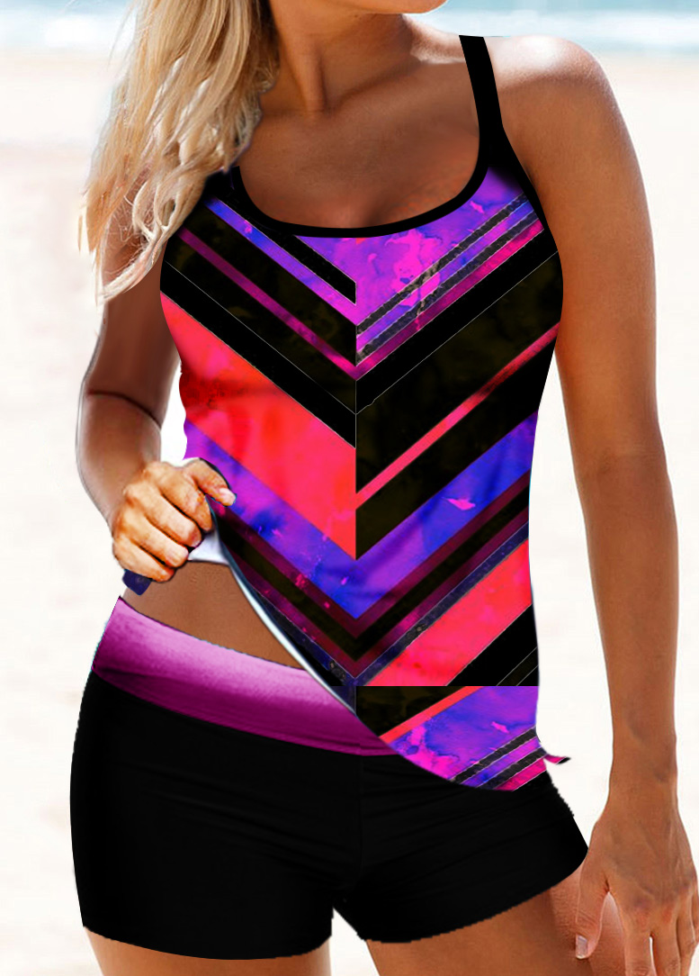 Criss Cross Back Chevron Print Tankini Set