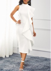 Ruffle Trim Mock Neck White Dress