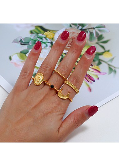 Moon Shape Gold Metal Ring Set - One Size