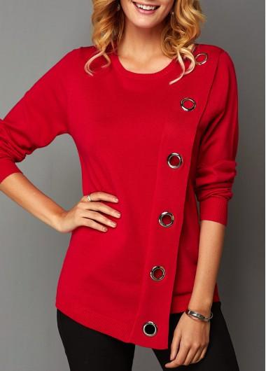 Women's Red Eyelet Detail Asymmetric Hem Long Sleeve Sweater - L