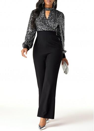 Black High Waist Cutout Front Sequin New Year Party Jumpsuit - L