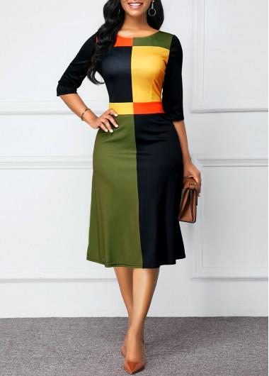 Color Block Round Neck Zipper Back Dress - L