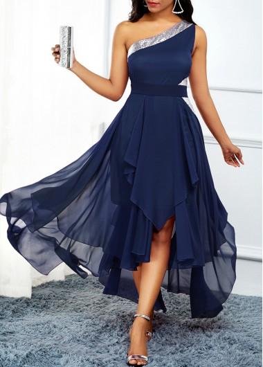 One Shoulder Navy Blue Asymmetric Hem Dress - L