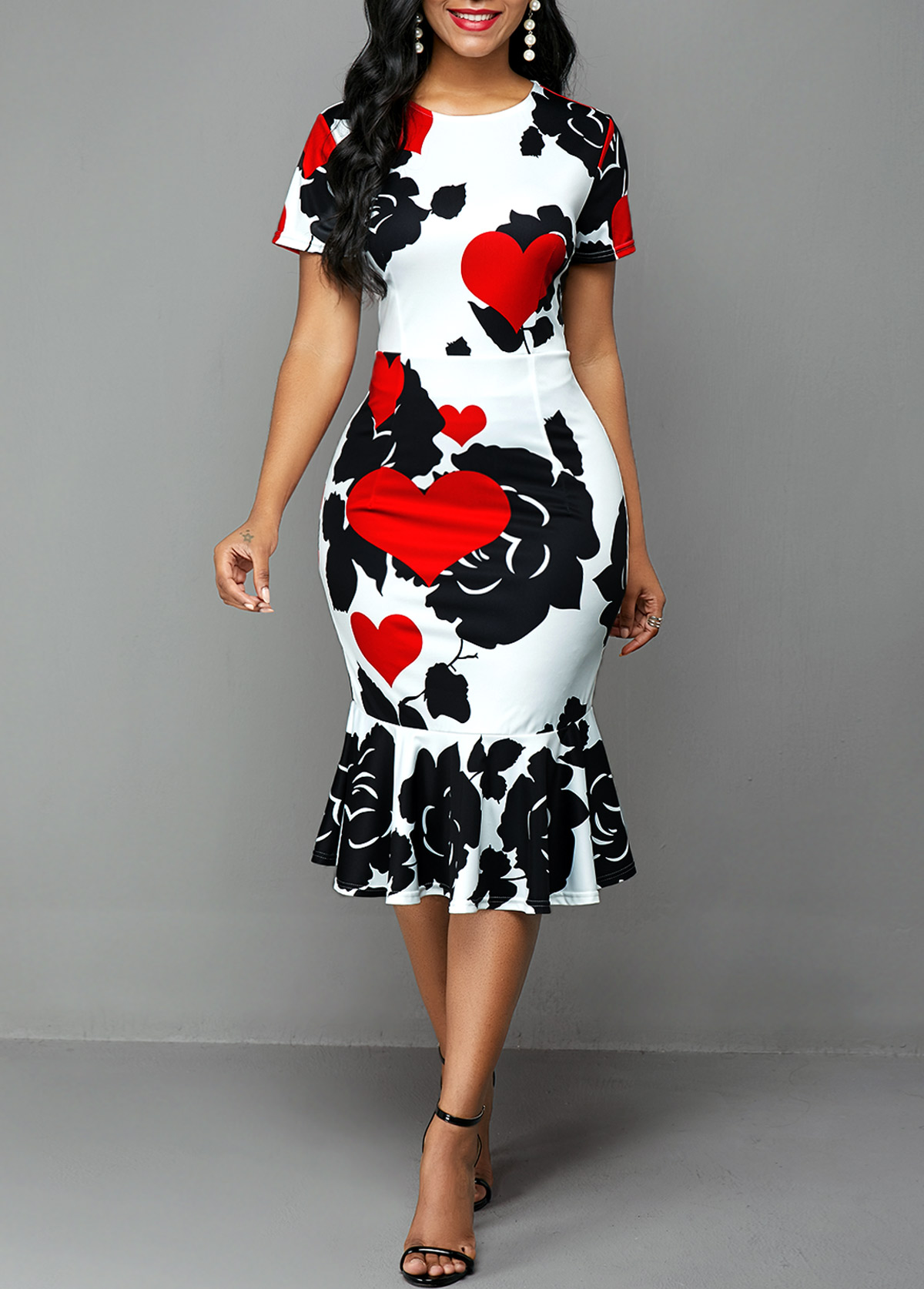 Rose and Heart Print Round Neck Dress