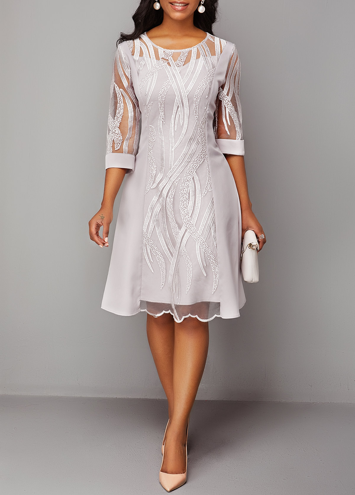 Round Neck Back Zipper Three Quarter Sleeve Lace Dress