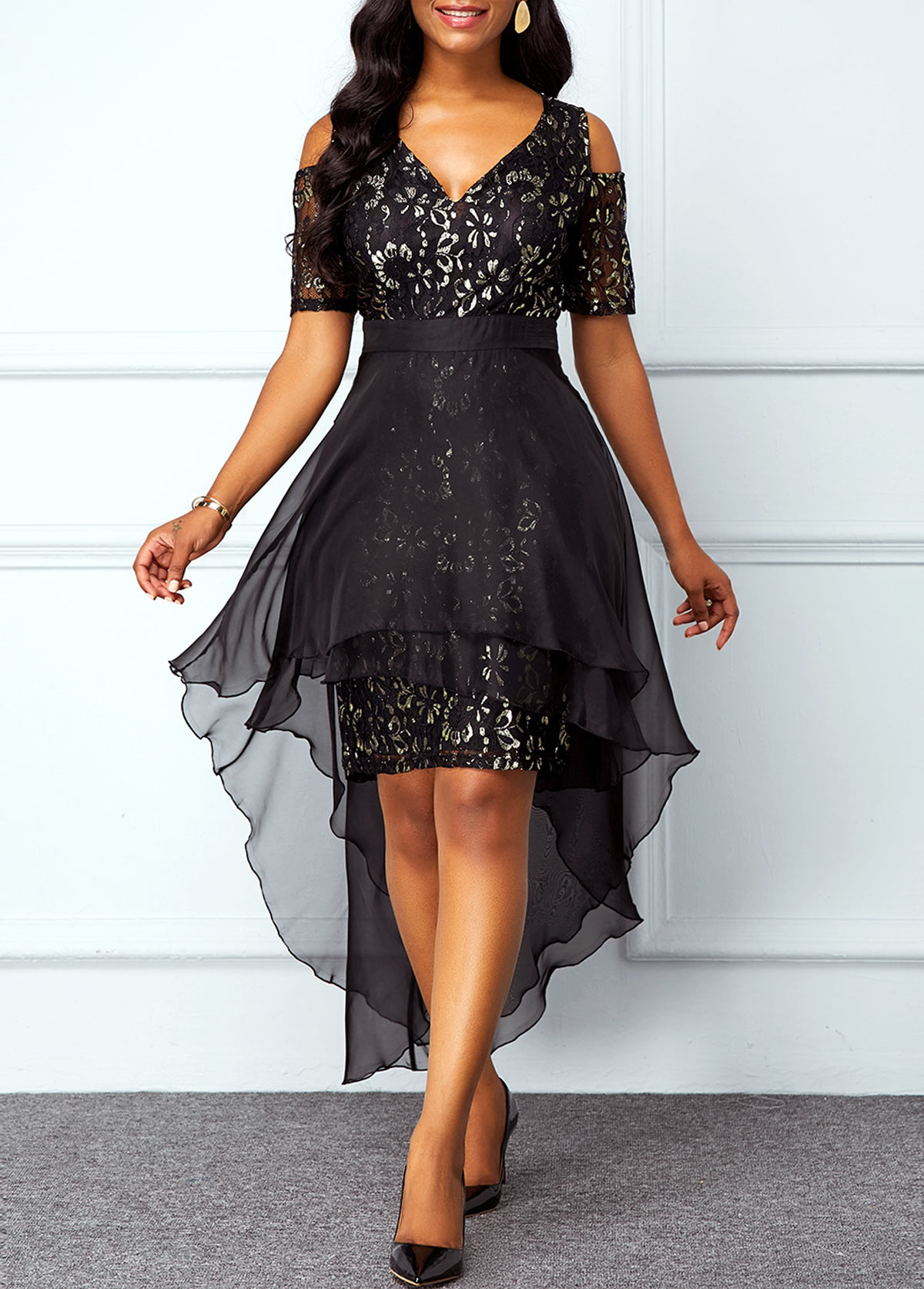Cold Shoulder Chiffon Overlay High Low Lace Dress