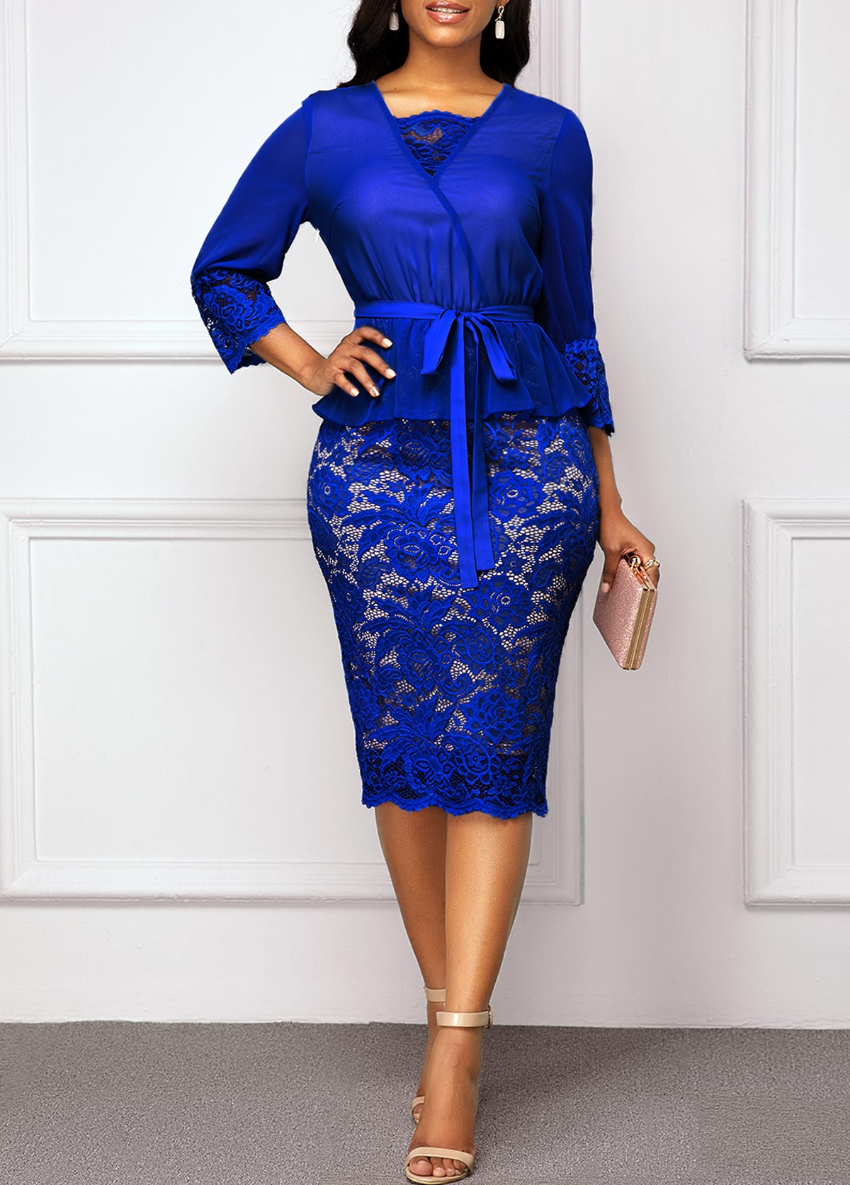 Royal Blue Belted Three Quarter Sleeve Lace Dress
