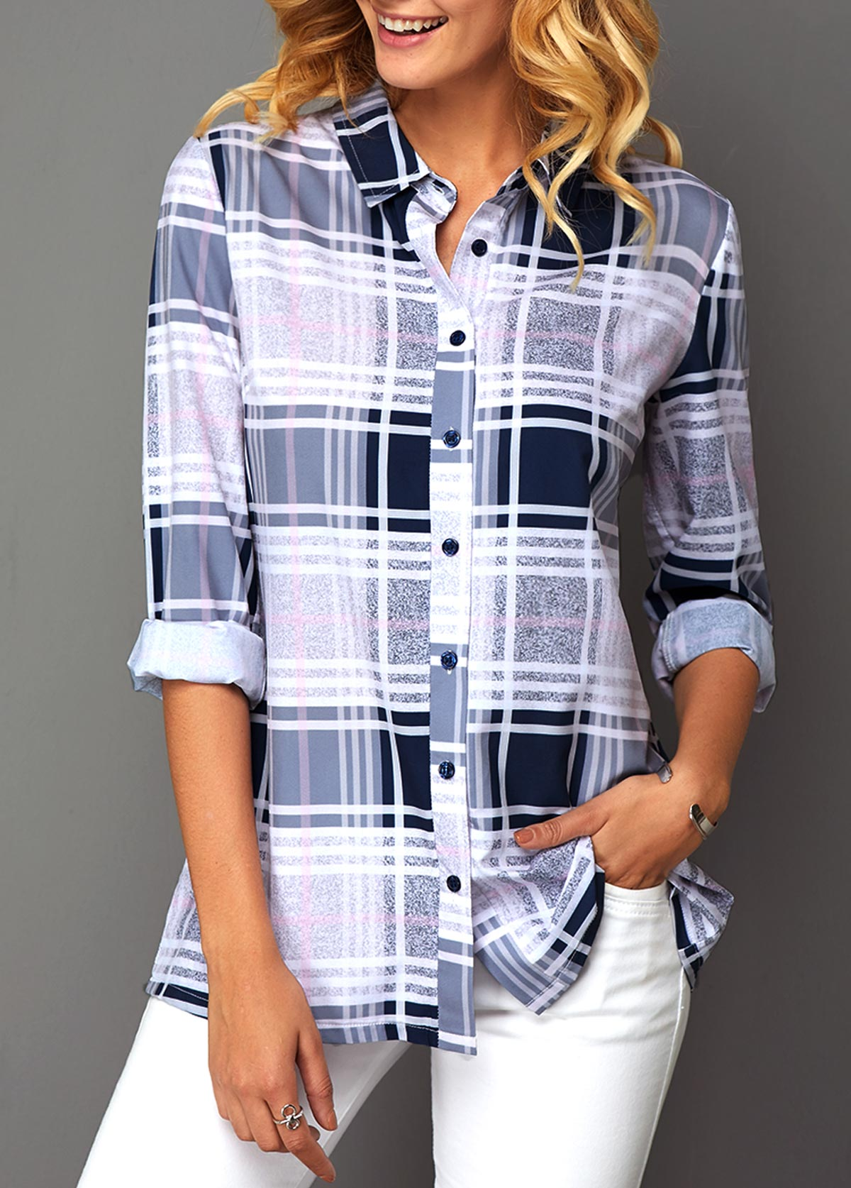 Plaid Print Button Front Turndown Collar Blouse
