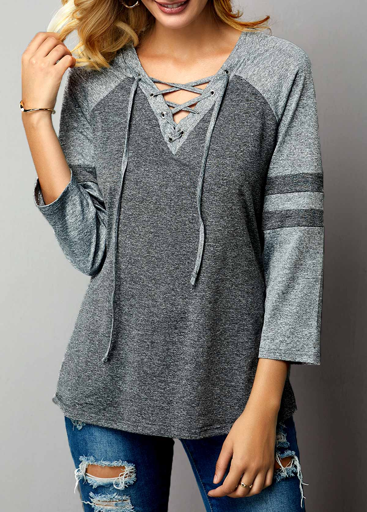 Lace Up Front Three Quarter Sleeve T Shirt