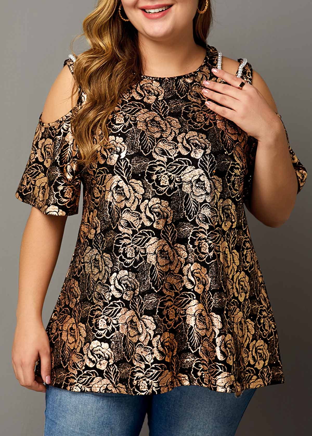Plus Size Pearl Embellished Flower Print T Shirt