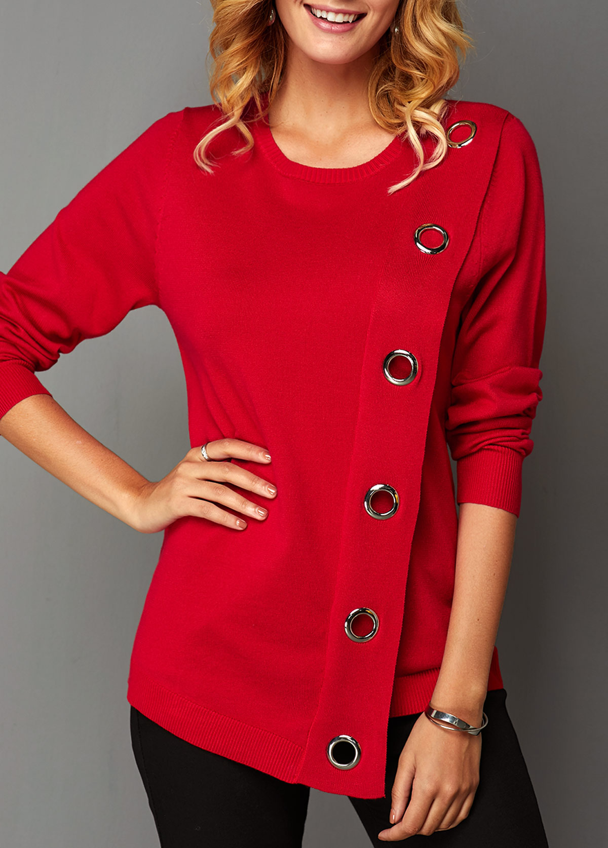 Eyelet Detail Asymmetric Hem Long Sleeve Sweater