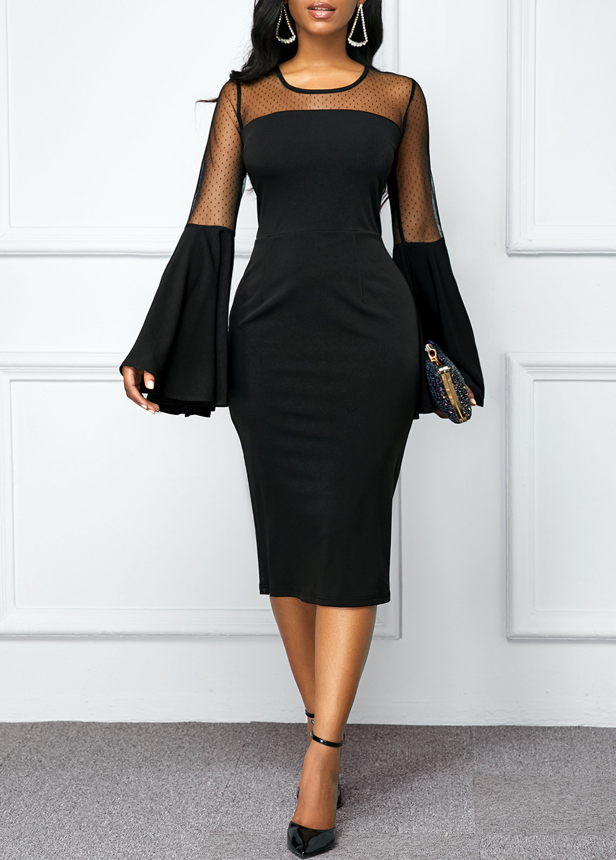 Mesh Panel Flare Sleeve Black Dress