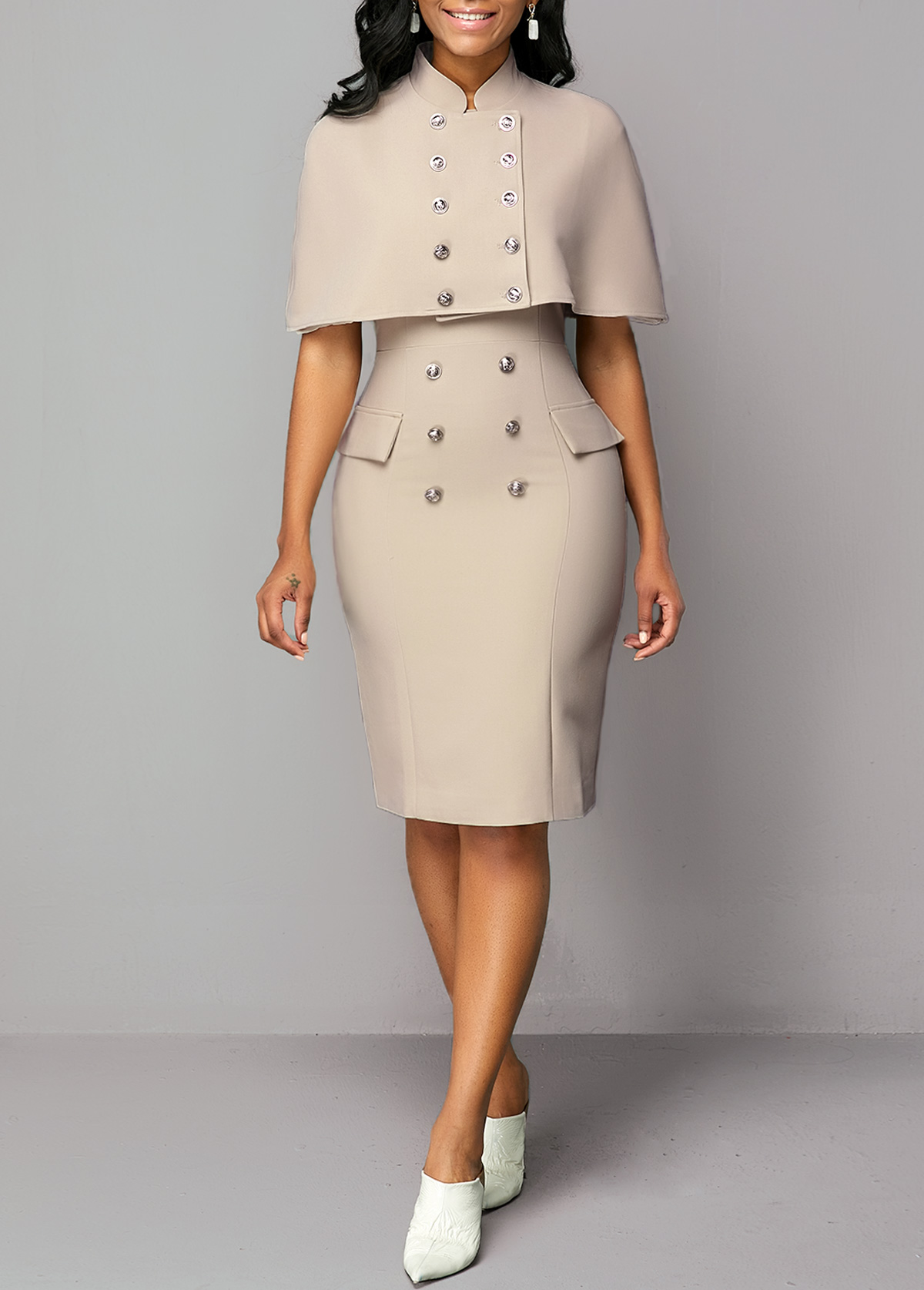 Button Detail Cap Shoulder Top and Back Slit Dress