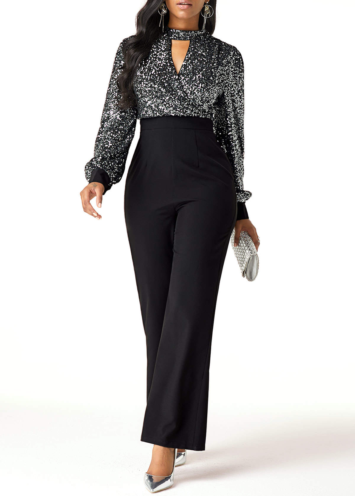Sequin Embellished High Waist Cutout Front Jumpsuit