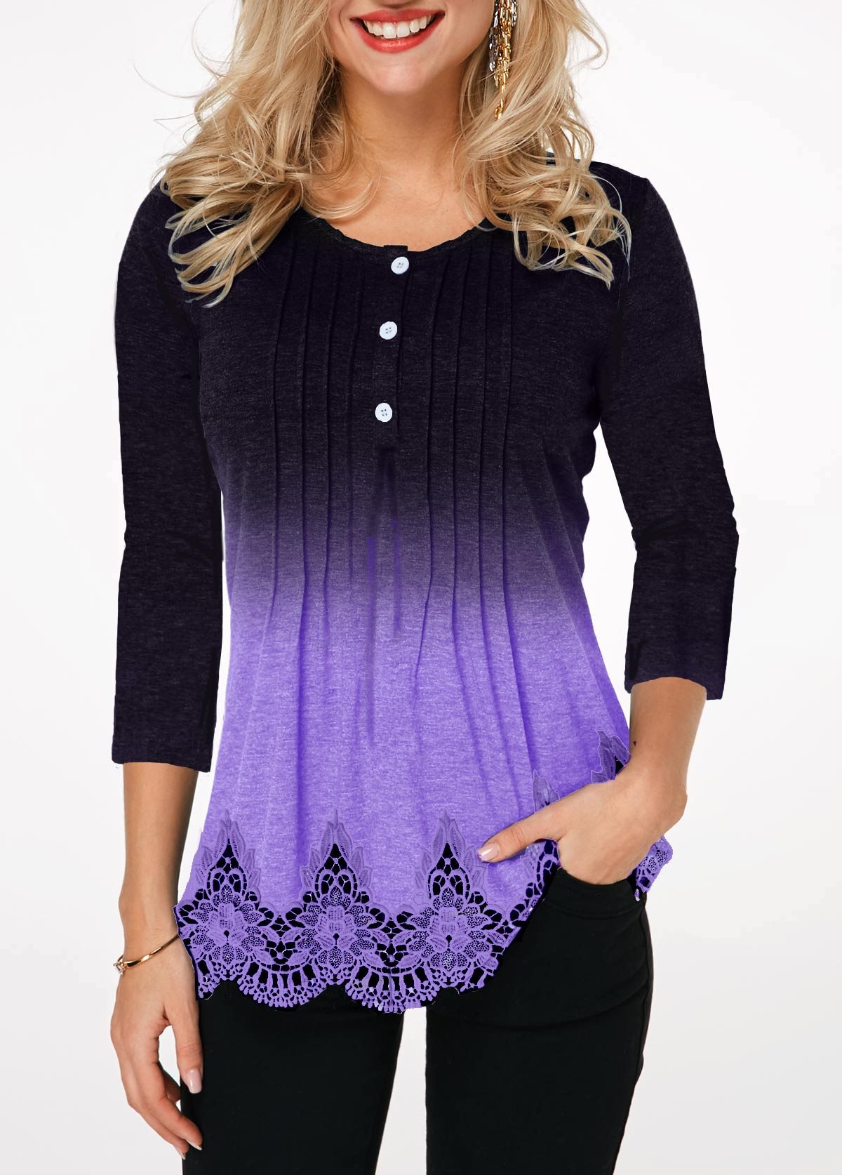 Lace Panel Button Detail Crinkle Chest T Shirt