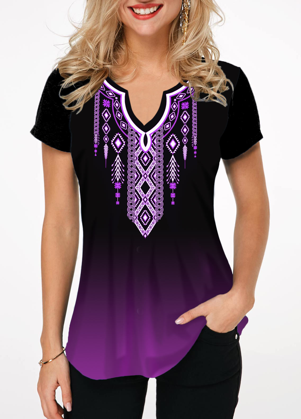 Tribal Print Notch Neck Short Sleeve T Shirt