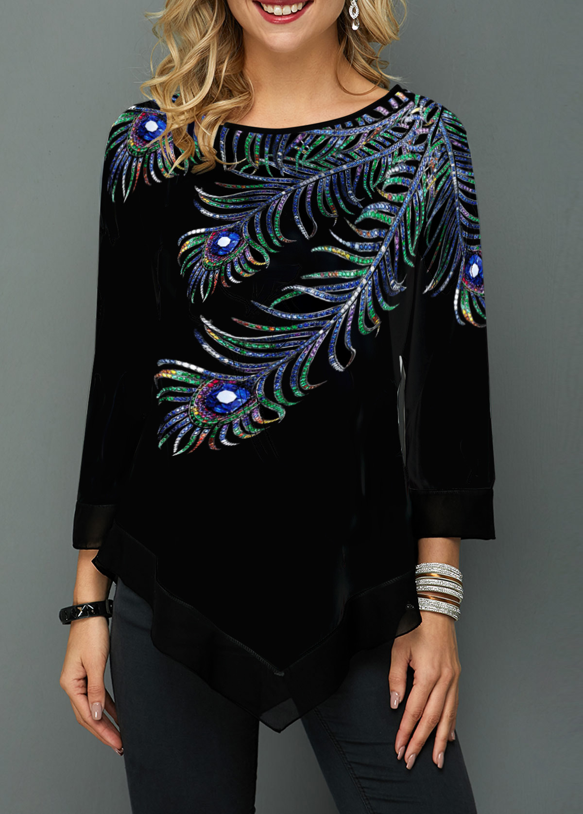 Asymmetric Hem Peacock Feather Print T Shirt