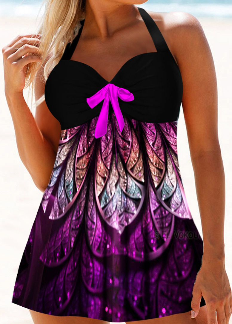 Halter Neck Bowknot Detail Printed Swimdress and Panty