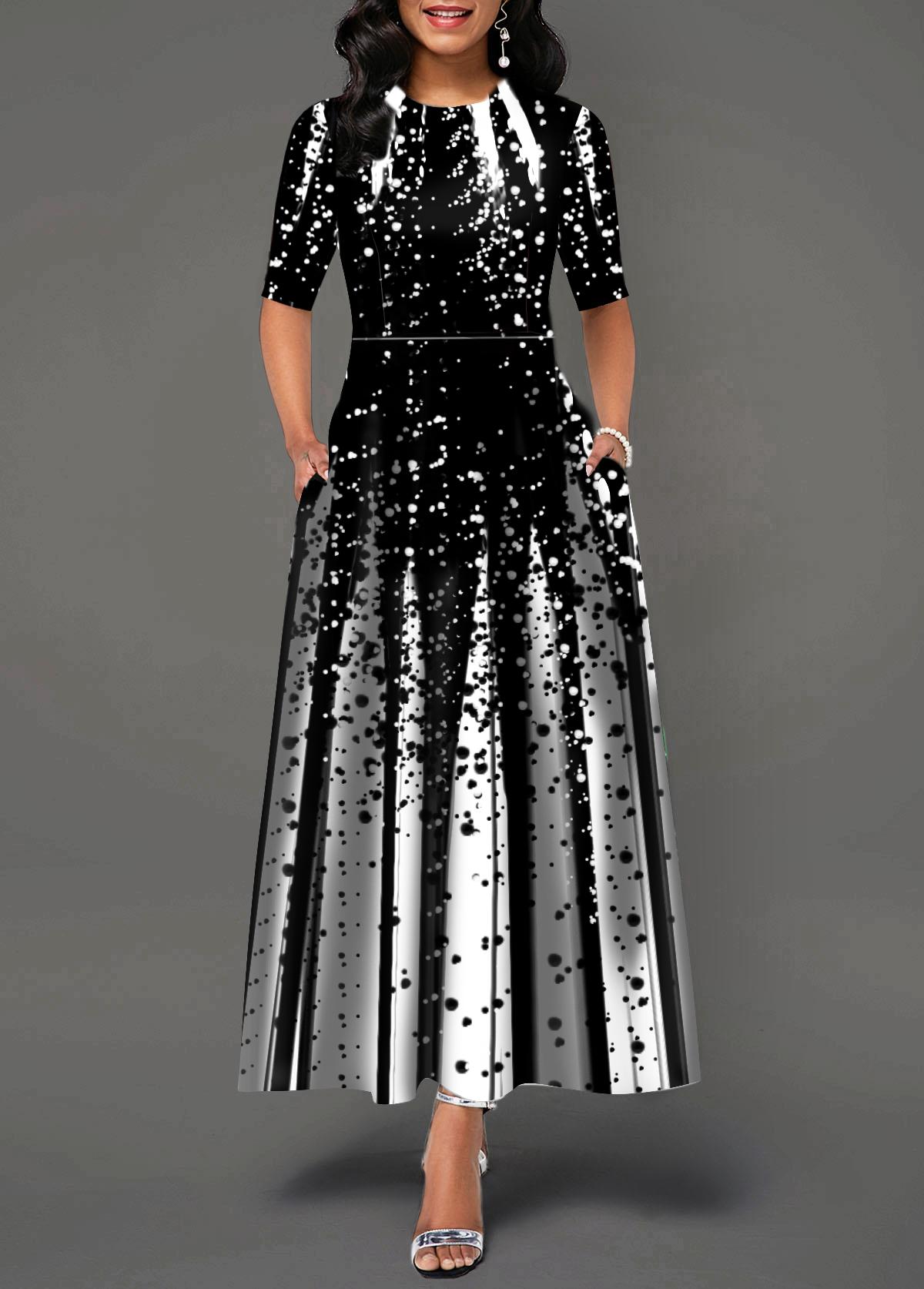 Round Neck Half Sleeve Printed Maxi Dress