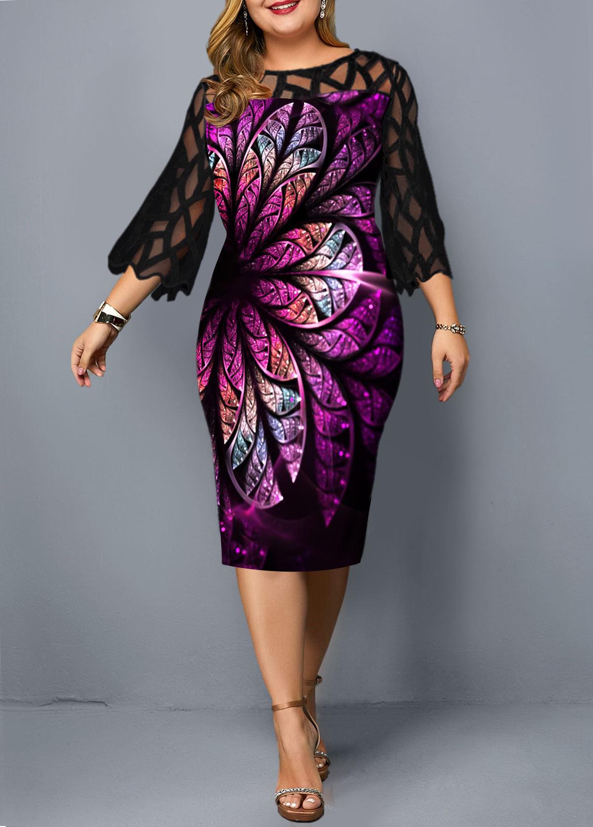 Plus Size Round Neck Flower Print Sheath Dress