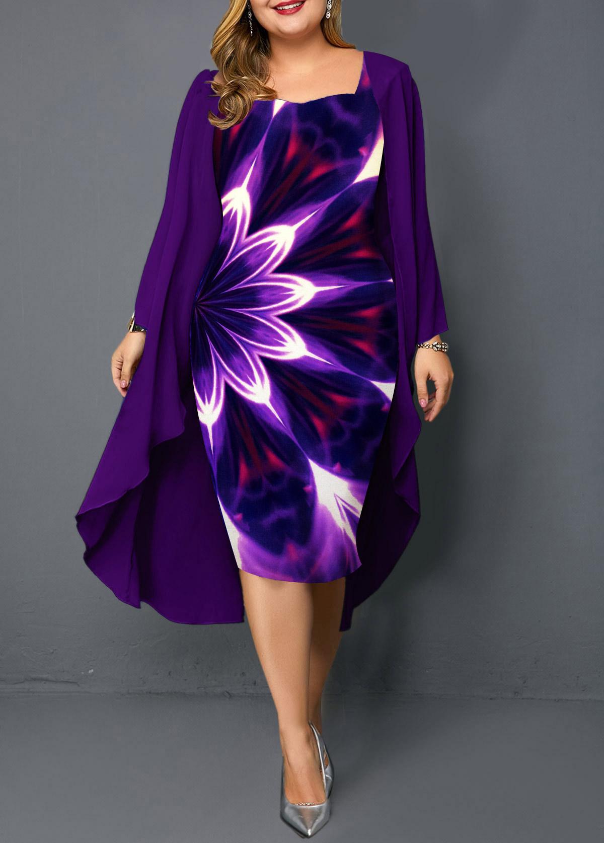 Plus Size Chiffon Overlay Printed Dress