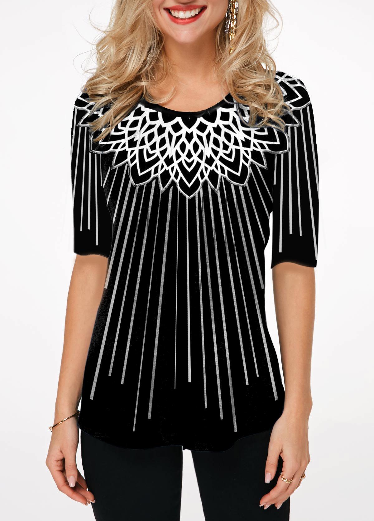 Half Sleeve Printed Round Neck T Shirt