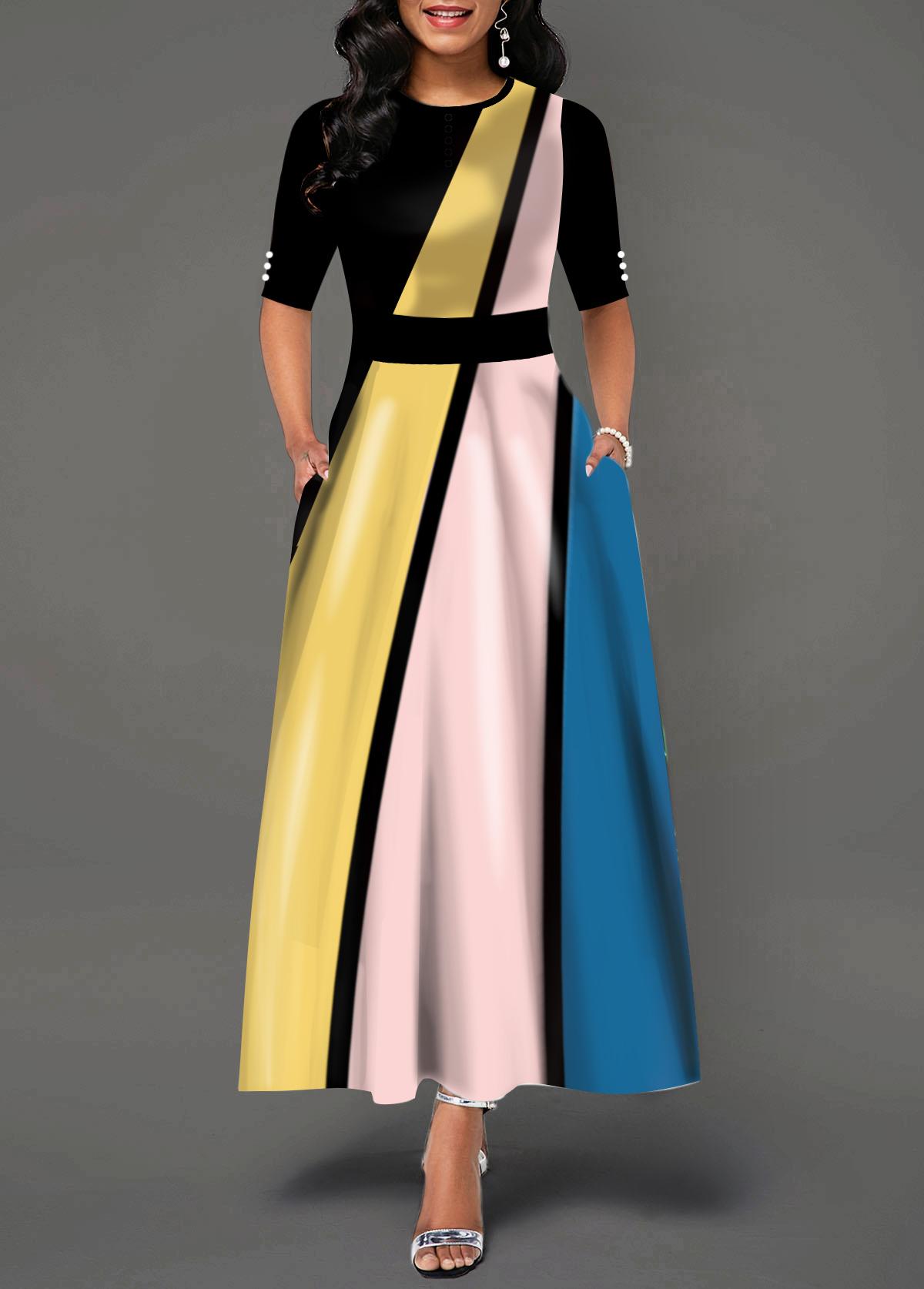 Color Block Round Neck Half Sleeve Maxi Dress