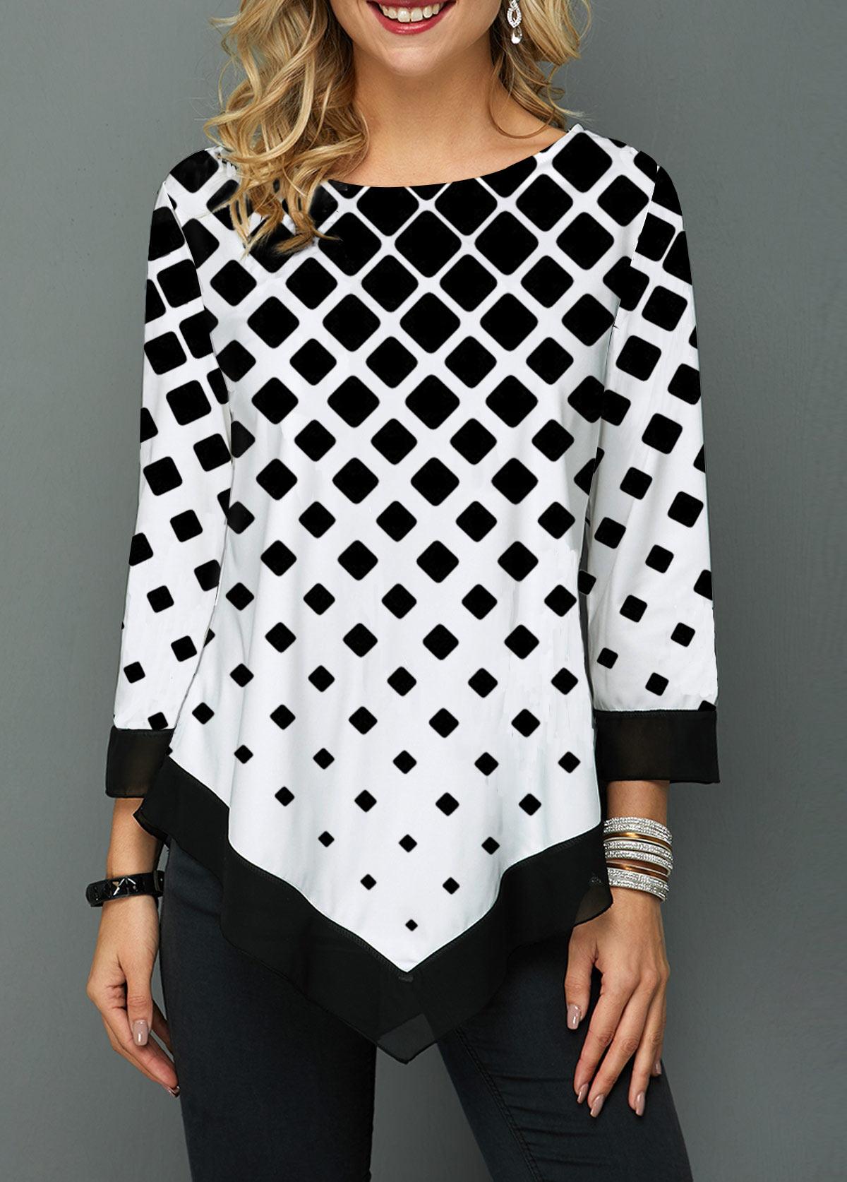 Asymmetric Hem Geometric Print Three Quarter Sleeve Blouse