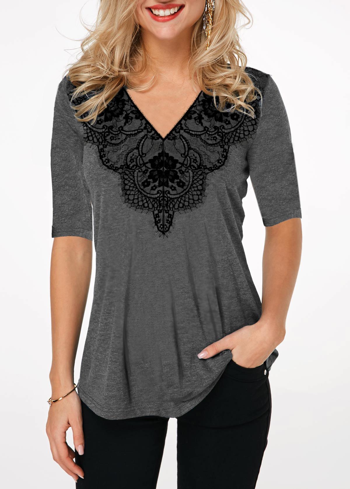 Lace Panel Half Sleeve V Neck T Shirt