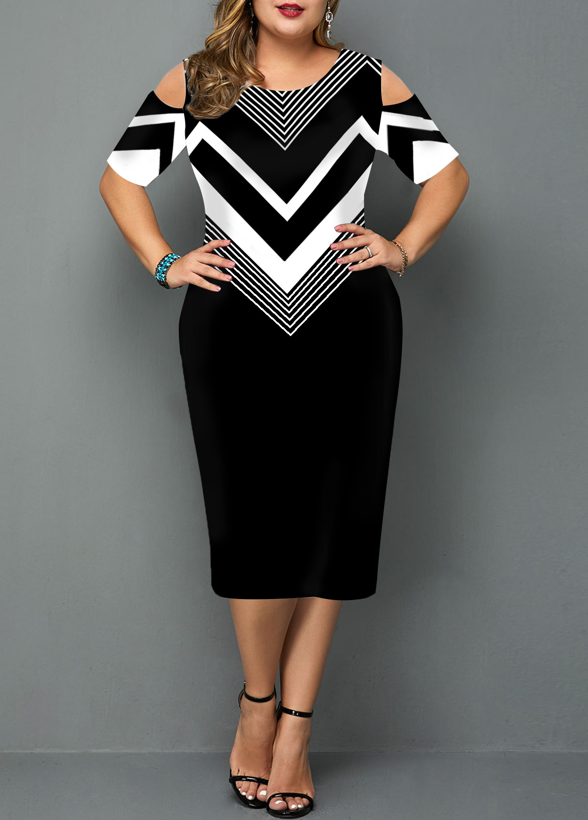 Plus Size Chevron Print Cold Shoulder Dress