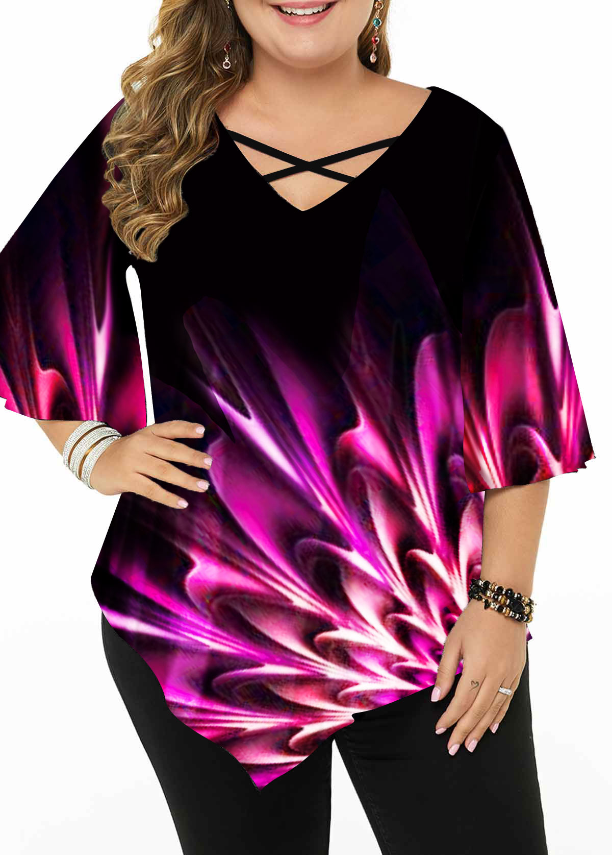Plus Size Printed Cross Strap Asymmetric Hem Blouse