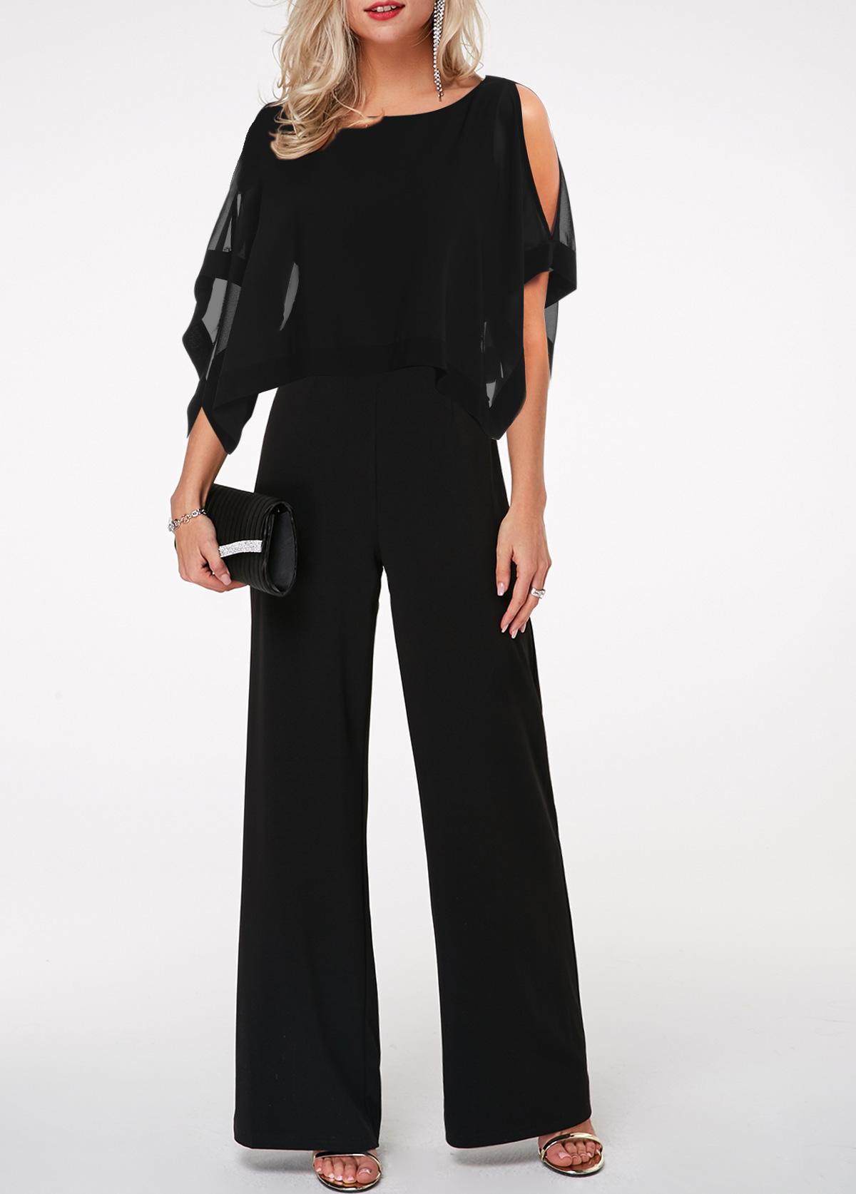 Cape Shoulder Three Quarter Sleeve Black Jumpsuit