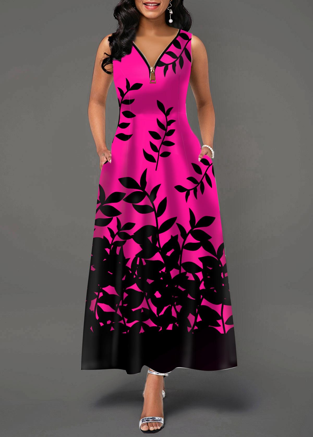Leaf Print Zipper Detail Sleeveless Maxi Dress