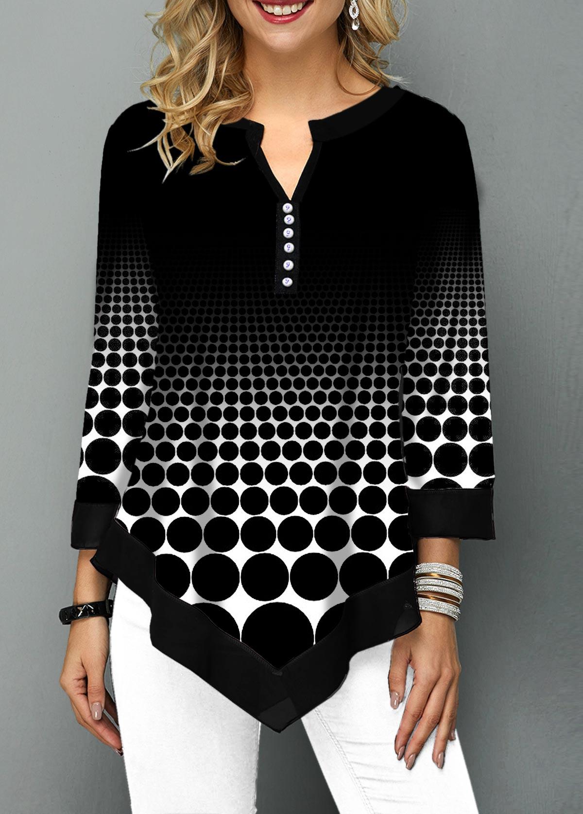 Split Neck Polka Dot Print Asymmetric Hem T Shirt