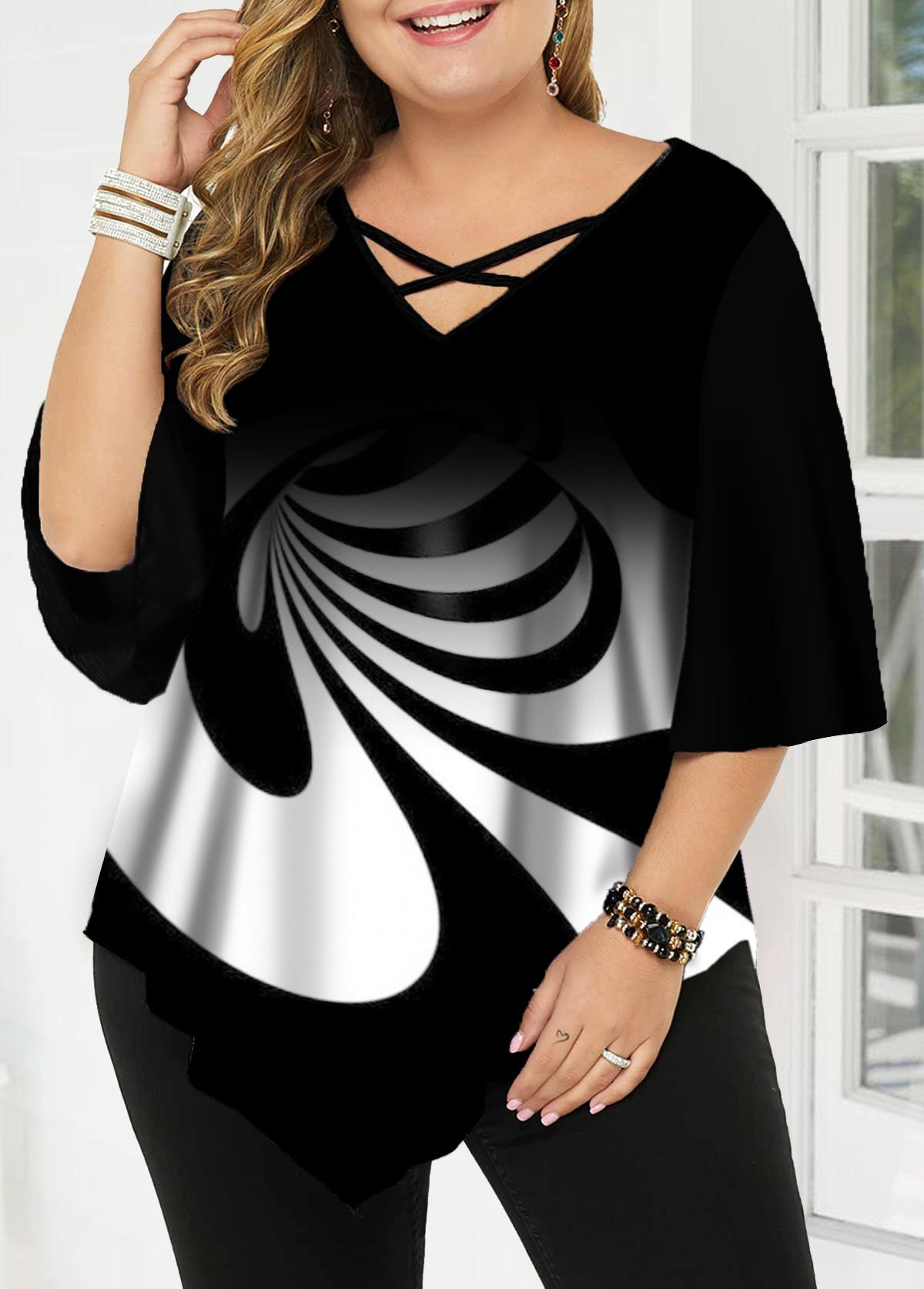 Plus Size Asymmetric Hem Cross Strap Printed T Shirt