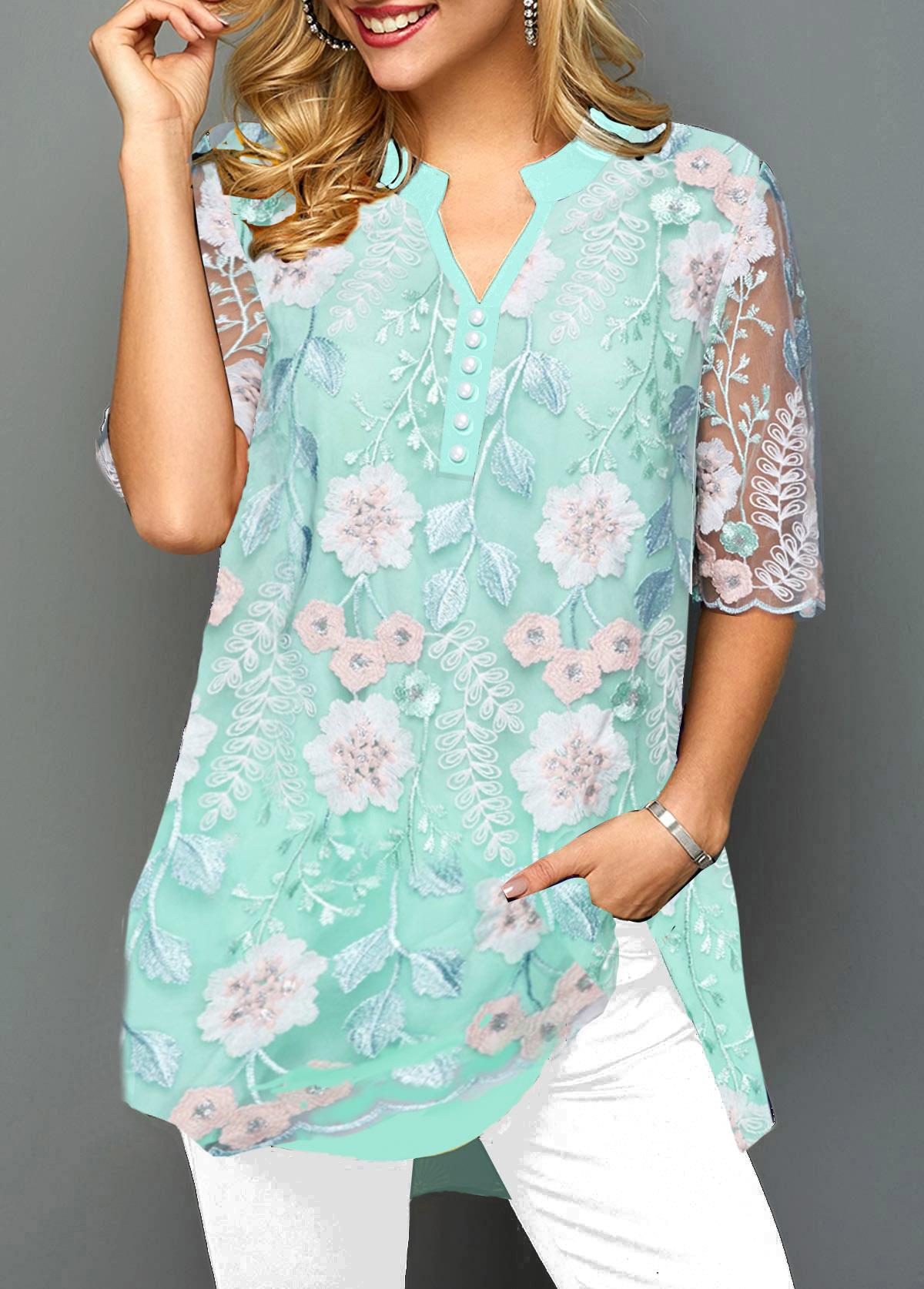 Lace Panel Split Neck Faux Pearl Embellished T Shirt