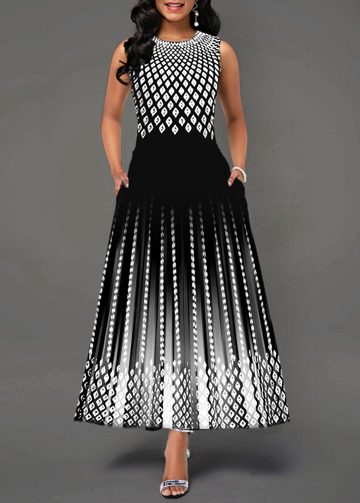 Sleeveless Round Neck High Waist Dress
