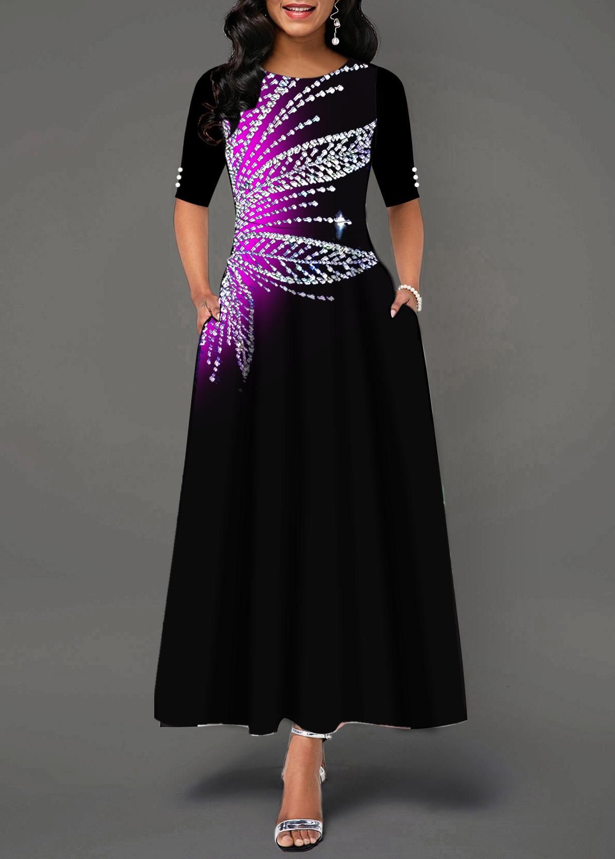 Round Neck Short Sleeve Printed Maxi Dress
