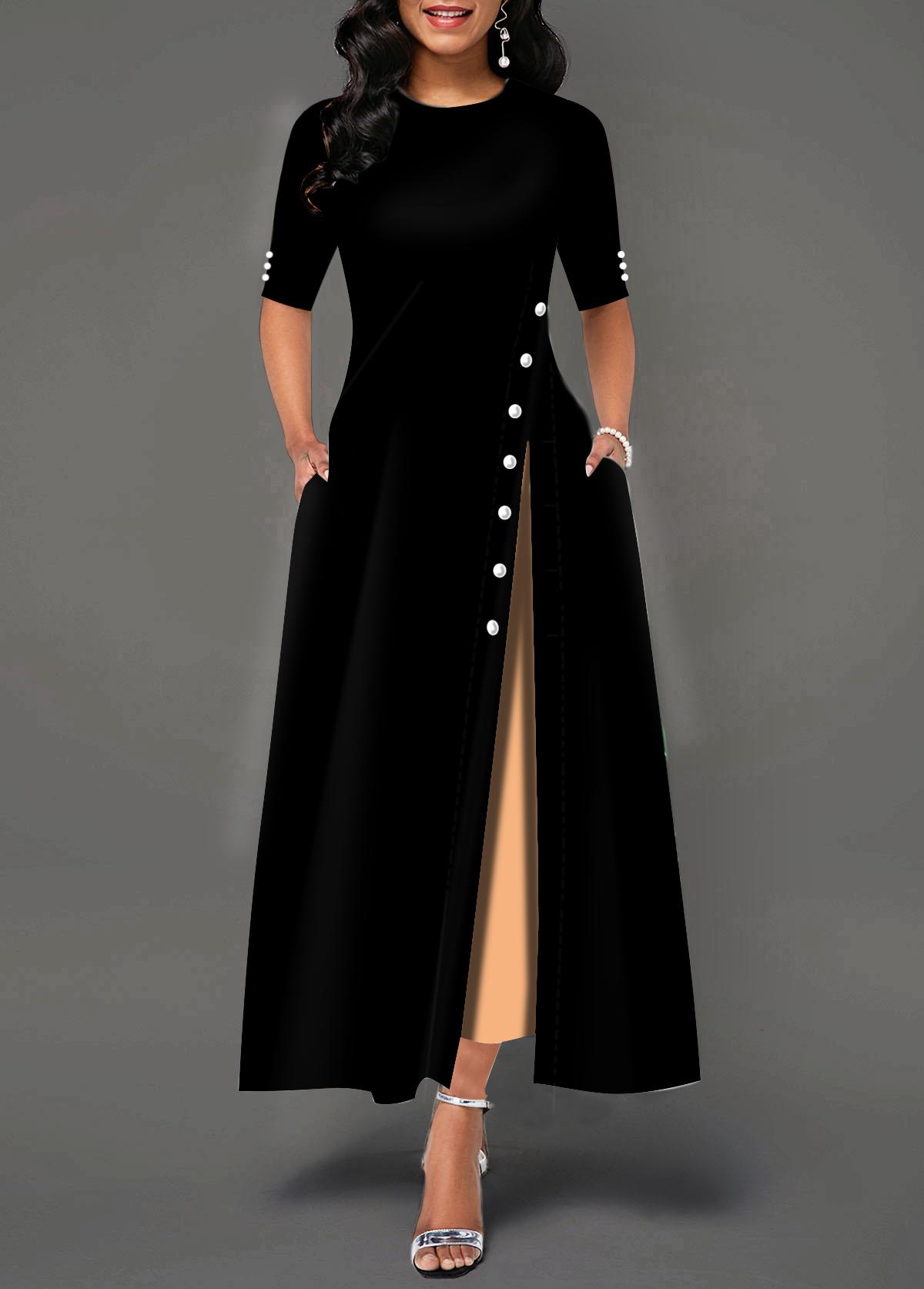 Side Slit Button Detail Half Sleeve Maxi Dress