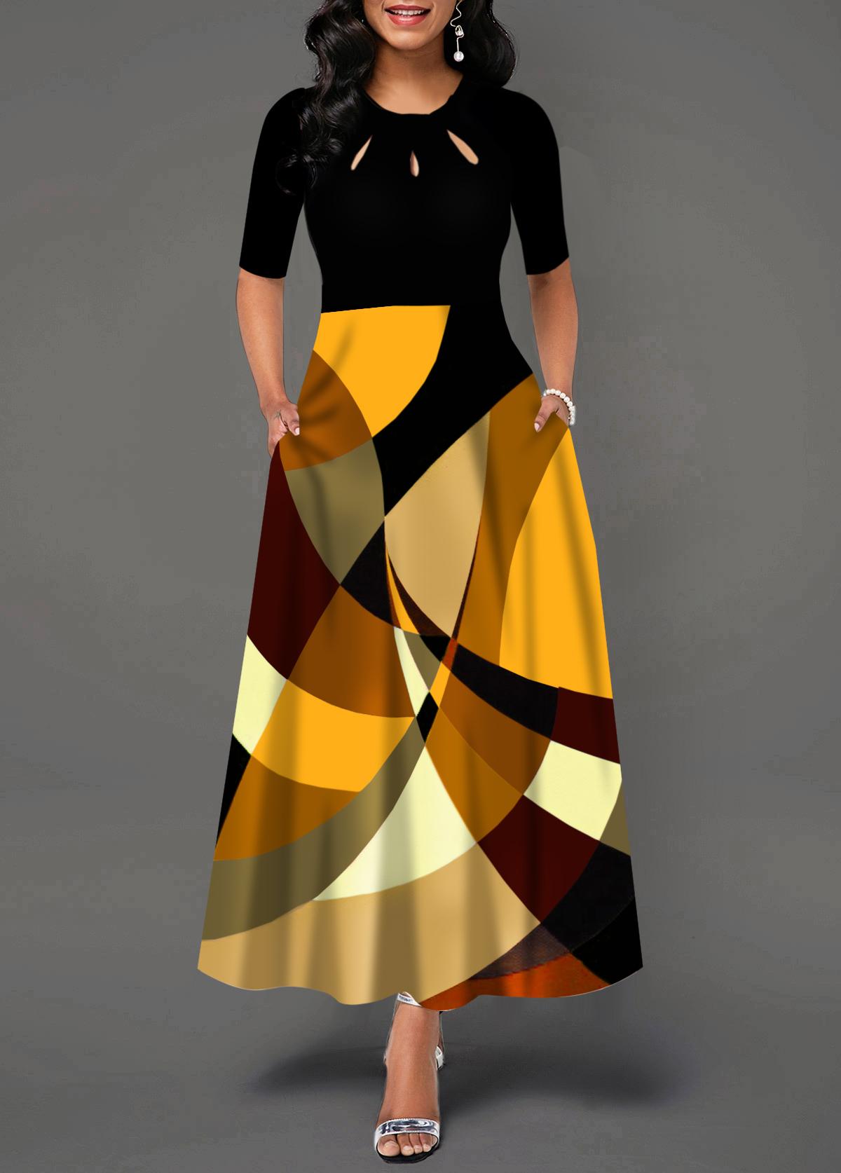 Geometric Print Short Sleeve Pocket Maxi Dress